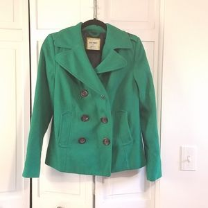 Old Navy Emerald Green Wool Peacoat